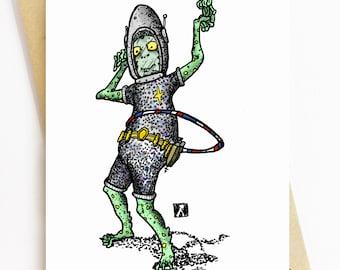 BellavanceInk: Greeting Card With Alien Hula Hooping Pen/Ink/Watercolor Illustration