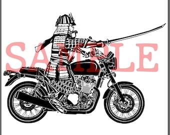 BellavanceInk: Samurai With Sword Riding Their Motorcycle Into Battle Digital Vector Image