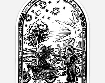 BellavanceInk: Saint Columbanus Patron Saint of Motorcyclists Illustration On A Vinyl Sticker
