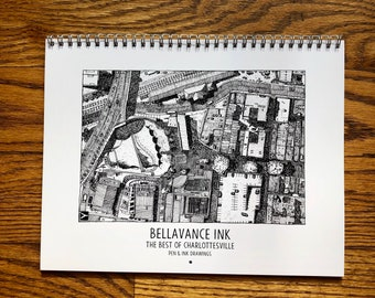 BellavanceInk: Calendar With Pen & Ink Drawings of the Best of Charlottesville Establishments 2020 8.5 x 11 Inches