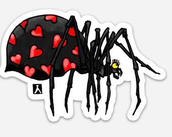 BellavanceInk: Black Widow Spider Valentine Pen & Ink Drawing On A Vinyl Sticker