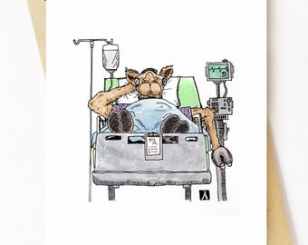 BellavanceInk: Get Well Card With Hospitalized Dehydrated Camel  5 x 7 Inches