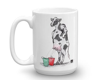 BellavanceInk: White Coffee Mug With Funny Cow Drawing Pen & Ink With Watercolor Print