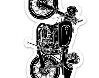 BellavanceInk: Vintage German Motorcycle Cafe Racer With Helmet Vinyl Sticker Illustration