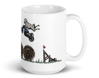 BellavanceInk: Pen & Ink/Watercolor With Stunt Sheep Jumping Hay Bales On Their Cafe Racer Motorcycle Coffee Mug