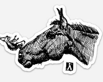 BellavanceInk: Little Mouse Swan Diving Off Of Horses Nose Pen And Ink Illustration On A Vinyl Sticker