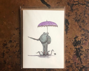 BellavanceInk: Greeting Card With A Pen & Ink Drawing of an Octopus Holding An Umbrella Parasol 5 x 7 Inches