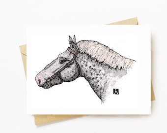 BellavanceInk: Greeting Card With Percheron Horse Head Restaurant 5 x 7 Inches