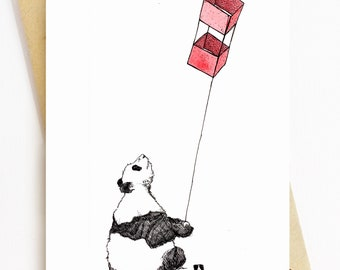 BellavanceInk: Greeting Card With A Pen & Ink Drawing Of A Panda Bear Flying A Red Box Kite 5 x 7 Inches