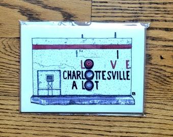 "BellavanceInk: Greeting Card of the Charlottesville Belmont Landmark ""I Love Charlottesville A Lot"" by Richard Montoya"