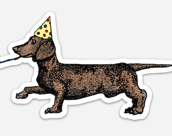 BellavanceInk: Weiner Dog Dachshund Vinyl Sticker Pen and Ink Illustration