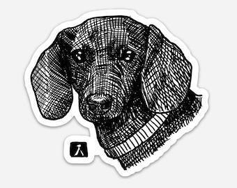 BellavanceInk: Dachshund Wiener Dog Pen And Ink Illustration On A Vinyl Sticker