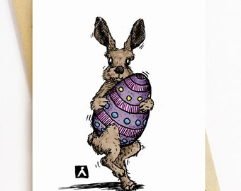 BellavanceInk: Easter Card With Easter Bunny Struggling To Hold An Easter Egg 5 x 7 Inches