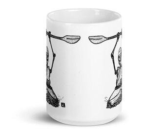BellavanceInk: Coffee Mug With Pen & Ink Drawing Of Grim Reaper Skeleton Whitewater Kayaking Down The River Styx