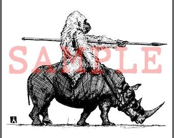 BellavanceInk: Gorilla On A War Rhino Pen & Ink Illustration Digital Vector Image