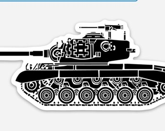 BellavanceInk: M26 Pershing Tank Vinyl Sticker Hand Drawn Illustration