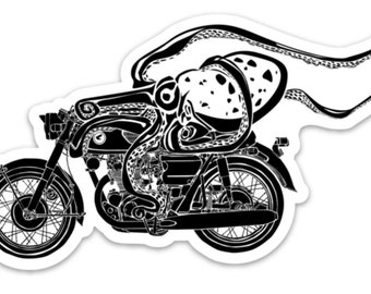 BellavanceInk: Octopus Riding on a Cafe Racer Motorcycle Vinyl Sticker Illustration