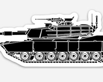 BellavanceInk: M1 Abrams Modern Tank Vinyl Sticker Hand Drawn Illustration