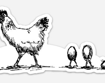 BellavanceInk: Chicken And Her Three Eggs Pen And Ink Illustration On A Vinyl Sticker