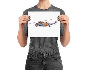 BellavanceInk: Pen & Ink Drawing With Watercolor of a Sea King Helicopter (Limited Prints Also Available)