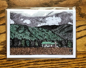 BellavanceInk: Greeting Card With Pen & Ink Watercolor of Farm House in Crozet Virginia Nestled By The Mountains
