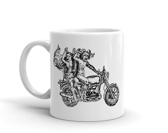 BellavanceInk: Coffee Mug With The Devil and Lady Riding a Motorcycle Pen & Ink Sketch