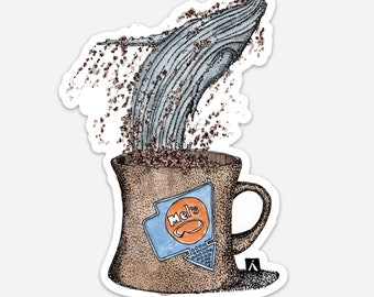 BellavanceInk: Pen & Ink Watercolor Sketch Blue Whale Jumping Out of A Coffee Mug Vinyl Sticker