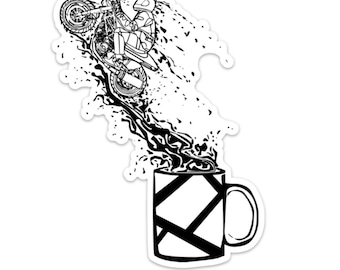 BellavanceInk: Motorcycle Rider Jumping Out Of A Full Coffee Cup Vinyl Sticker Illustration