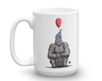 BellavanceInk: White Coffee Mug With Grumpy Birthday Gorilla And Balloon