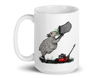 BellavanceInk: White Coffee Mug With Hungry Sheep Mowing The Lawn