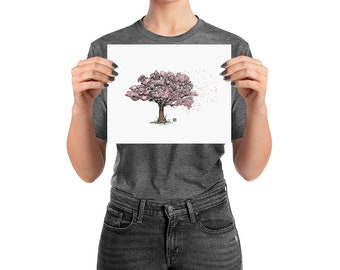 BellavanceInk: Pen & Ink/Watercolor Drawing of a Cherry Blossom Tree