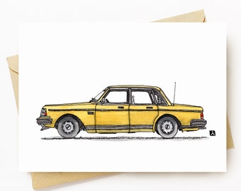 BellavanceInk: Greeting Card Pen & Ink/Watercolor Sketch of a Vintage Swedish GL Sedan  5 x 7 Inches