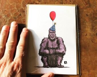 BellavanceInk: Birthday Card With Grumpy Gorilla With Birthday Balloon Pen & Ink Watercolor Illustration 5 x 7 Inches