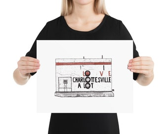 "BellavanceInk: Limited Print Drawing of the Charlottesville Belmont Landmark ""I Love Charlottesville A Lot"""