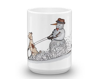 BellavanceInk: Christmas Coffee Mug With Snowman And Little Dog On A Toboggan Pen/Ink Watercolor