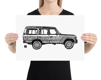 BellavanceInk: Vintage FJ60 SUV Pen & Ink Illustration Print