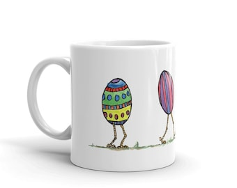 BellavanceInk: White Coffee Mug With Easter Egg Family Walking Together