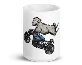 BellavanceInk: Pen & Ink/Watercolor Sheep On Their Cafe Racer Motorcycle Coffee Mug