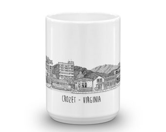 BellavanceInk: Coffee Mug With Local Crozet Area Businesses Skyline With The Mountains Behind Them