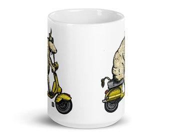 BellavanceInk: Cow Riding A Vintage Scooter White Coffee Mug