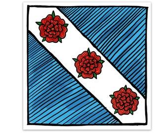 BellavanceInk: Crozet Flag Vinyl Sticker Virginia Pen and Ink Illustration