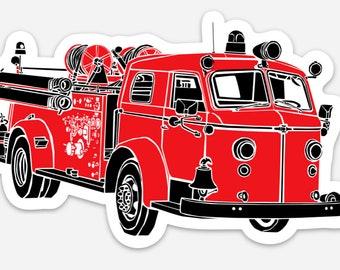BellavanceInk: Vintage Fire Engine Truck Vinyl Sticker Hand Drawn Illustration