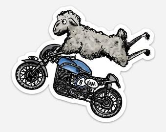 BellavanceInk: Sheep On A Cafe Racer Motorcycle Vinyl Sticker Illustration