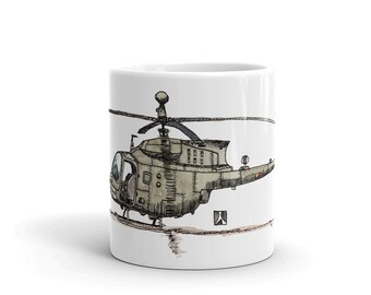 BellavanceInk: Coffee Mug With A Vintage Helicopter Pen & Ink Sketch With Watercolor