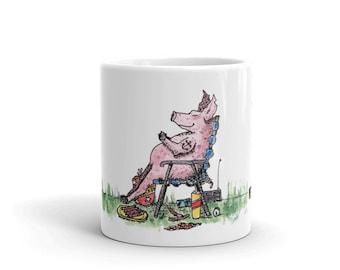 BellavanceInk: Coffee Mug With Over Stuffed Sleeping Pig In A Food Coma Pen & Ink Watercolor Design