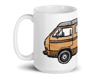 BellavanceInk: Coffee Mug With A Hand Drawn Pen & Ink Drawing Of A Vintage Vanagon Camper Van With Custom Colors Available