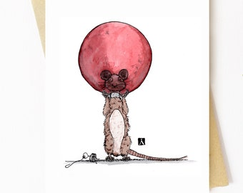 BellavanceInk: Christmas Card With Mouse's Head Stuck In Christmas Bulb Pen & Ink Watercolor Illustration 5 x 7 Inches