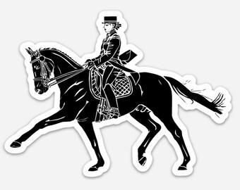 BellavanceInk: Dressage Rider On Horse Vinyl Sticker Pen and Ink Illustration