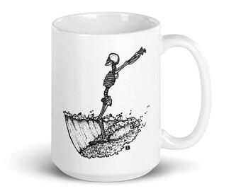BellavanceInk: 15 Oz White Coffee Mug With Skeleton Surfing On His Longboard