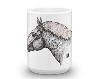 BellavanceInk: White Coffee Mug With Percheron Horse Head Pen & Ink With Watercolor Print